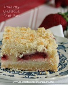 Strawberry Cheesecake Crumb Bars--The delicious taste of Strawberry Cheesecake surrounded by a sweet crumb bar!