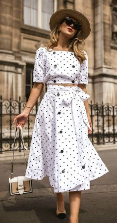 Polka Dots Make Bad Moods Impossible Black and white polka dot linen cropped top with puffed shoulder and double breasted button details + matching linen midi skirt with bow and double breasted button details, sling back pumps with color block toe cap, Fashion Mode, Retro Fashion, Fashion Vintage, Dots Fashion, Fashion Tips, Dot Dress, Dress Up, Vintage Outfits, Mode Hijab