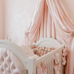 baby pink crib canopy Bed Crown and Crib Canopy Inspirations. Love how the crib is standing. Enough room to put mobile. Nursery Room, Girl Nursery, Girl Room, Canopy Crib, Pvc Canopy, Ikea Canopy, Hotel Canopy, Canvas Canopy, Nursery Decor