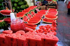 """Sandías"", watermelons in market, México City. I would like to eat a piece of these delicious red fresh fruits."