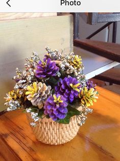 Basket of Pine cone flowers