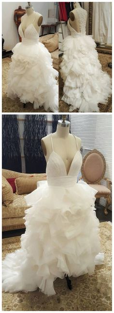 Deep V-Neck Spaghetti White Tulle Lace Wedding Dress, Sexy Bridal Gown, WD0112