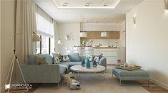 Jasne kolory w małej kuchni z salonem - Architektura, wnętrza, technologia, design - HomeSquare