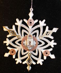 SOLD!!   Steampunk snowflake Christmas ornament