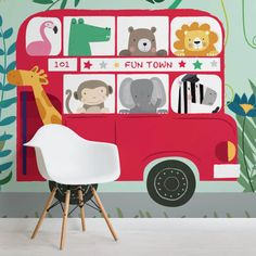 routemaster-nursery-square-wall mural