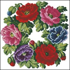 This Pin was discovered by pel Cross Stitch Rose, Cross Stitch Flowers, Cross Stitch Designs, Cross Stitch Patterns, Cross Stitching, Cross Stitch Embroidery, Embroidery Patterns Free, Vintage Flowers, Needlepoint