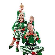 6c319ea489 K-youth Conjunto de Familiares Ropa De Dormir Pijama de Navidad Rayas  Camisetas de Manga