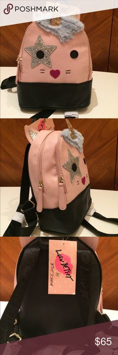 Betsey Johnson Unicorn Glitter Double Zip Backpack Adorable, rare unicorn backpack by Betsey Johnson. Glitter ears, horn and star eye patch, faux fur mane, pink glitter nose, stitched whiskers! Brand new with tags! Betsey Johnson Bags