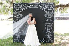 #chalkboard, #backdrop  Photography: Amalie Orrange Photography - amalieorrangephotography.com  Read More: http://www.stylemepretty.com/southeast-weddings/2014/04/18/raspberry-striped-wedding-inspiration/