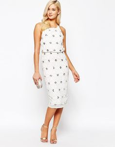Frock and Frill Open Back Embellished Midi Shift Dress With Overlay UK 12/EU 40