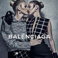@balenciagaparis  | Supermodels Kate Moss and Lara Stone get up-close-and-personal for the Balenciaga Fall/Winter 2015 ad campaign photographed by Steven Klein!  | www.balenciaga.com/ | #balenciaga   #alexanderwang   #love   #supermodels   #katemoss   #larastone   #stevenklein