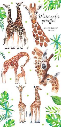Giraffe love - watercolor set by beauty drops on Creative Market Giraffe Decor, Giraffe Art, Giraffe Pattern, Funny Giraffe, Cute Giraffe Drawing, Giraffe Painting, Girraffe Drawing, Animal Paintings, Animal Drawings