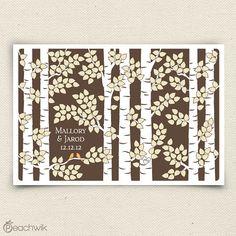 Wedding Guest Book Alternative - The Birchwik - A Peachwik Personalized Art Print - 275 guest sign in - Birch Tree Forest Guestbook via Etsy