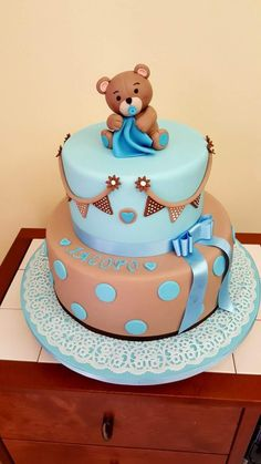 JuJu Torta Baby Shower, Baby Shower Treats, Teddy Bear Baby Shower, Baby Shower Cakes For Boys, Baby Boy Cakes, Baby Boy Shower, Baby Shower Venues, Baby Shower Advice, Baby Birthday Cakes