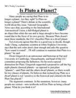 Is Pluto a Planet? – Sixth Grade Reading Comprehension Test: Use the information in the story to answer the 5 comprehension questions. Answer Key Is Included. Information: Sixth Grade Reading Comprehension. 6th Grade Reading Comprehension Test Practice. Non-Fiction. Article. Planet, Planets, Pluto, Space, Solar System.