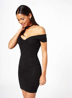 Basic Black Bardot Bodycon Dress - Dresses - PrettylittleThing