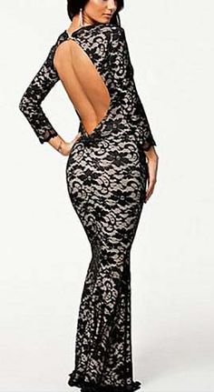 Black Long Sleeve Backless Lace Sexy Dress.....this is so me!