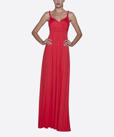Take a look at the Coral Empire-Waist Maxi Dress on #zulily today!