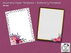 This is a set of digital prints suitable for use as GoodNotes paper templates. Alternatively, these can be printed and used as lovely stationeries (just like the good old days. Stationery Templates, Paper Templates, Filing Papers, Banner Printing, Handmade Items, Handmade Gifts, The Good Old Days, Paper Decorations, Digital Scrapbooking