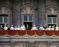 Princess Margaret, her new husband, Anthony Armstrong-Jones and the British Royal Family shown on balcony of Buckingham Palace following wedding in Westminster Abbey on May 6, 1960.