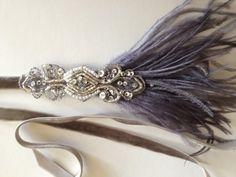 GREY Great Gatsby headpiece flapper dress beaded 1920s dress dresses great gatsby headbands headpieces fascinator