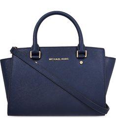MICHAEL MICHAEL KORS Selma medium Saffiano leather satchel (Navy