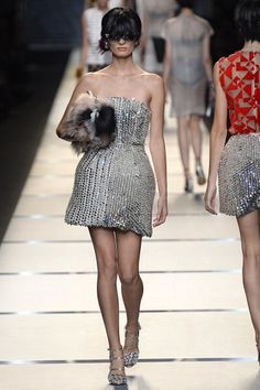 Silver is hot. Metallics and bangs are back.  Fendi | Milan Fashion Week Spring/Summer 2014 Show