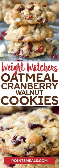 Oatmeal Cranberry-Walnut Cookies Recipes - Easy Recipe On a Budget Weight Watcher Cookies, Weight Watchers Diet, Weight Watchers Desserts, Ww Desserts, Healthy Desserts, Delicious Desserts, Healthy Recipes, Healthy Foods, Yummy Food