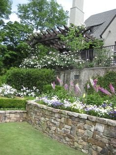 flowers and rock walls
