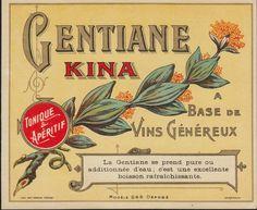 France Vintage Old Gentiane Kina Vins Wine Label Tonique Aperetif | eBay