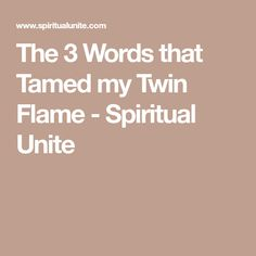 The 3 Words that Tamed my Twin Flame - Spiritual Unite