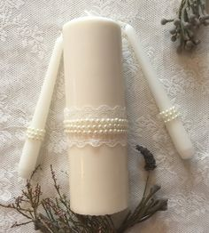 Pearl & Lace Unity Candle Set Elegant Wedding by BirchandBunny