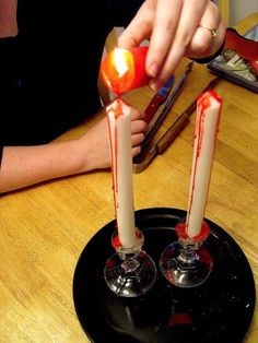 Creepy, bloody candles for Halloween.  Fun and cute  DIY