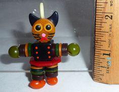 Small BAKELITE BUTTON BEAD DOLL CAT Crib Toy Charm Pendant Lucite Casein OOAK