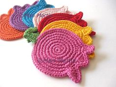Mix Colors Tulips Crochet Coasters . Beverage Drink Original Decor Crochet Spring Garden Collection - Set of 6 - Made to Order. 32.00, via Etsy.