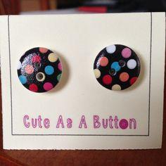 Bright mulitcolour spot wooden button earrings  http://www.facebook.com/cuteasabuttonni