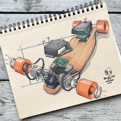 //171. Ever wondered what a boosted board looked like on the inside? Well even if you didnt here it is: an exploded boosted board. I guess this LONG board fits perfect with todays #inktober theme. Im looking forward to hearing what you think of it feel free to let me know! #alwaysbesketching