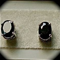 Black Sapphire Nickel Free Sterling Silver Plat Overlay 2cts. Studs     $50.00