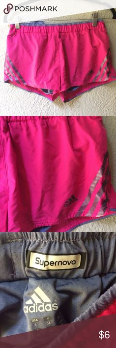 Hot pink adidas shorts Size/Fit: Small, true to size  Color: Pink  Brand: Adidas  Condition: Like new  Flaws: Flawless!   Comes from a pet/smoke free home! Happy shopping! <3 adidas Shorts