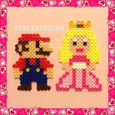 Mario and Princess Peach perler beads by perlertricks