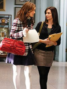 Gossip Girl Season Two: Get the Look  Episode 216: You've Got Yale  B gets a B. Blair, in Brooks Brothers jacket, Oscar de la Renta blouse, H skirt, Valentino bag and Hue tights, tries to convince her teacher Rachel to change her grade. She wears a top and skirt from Banana Republic, cardigan from J. Crew and Gabriela de la Vega necklace.