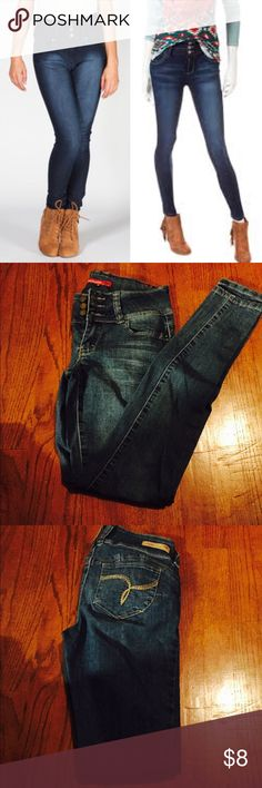 High waisted skinny jeans Blue denim jeans made to flatter your figure, YMI wanna betta butt jeans, cute and flattering. In excellent used condition. Only worn once. YMI Jeans Skinny