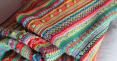 little woollie: Mixed stitch stripey blanket crochet-a-long | Love the mixture of stitches and colors!