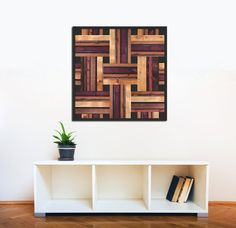 Modern Square Weave Pattern Wood Wall Art Decor by ScrapWoodDesign