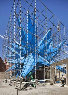 Here are the first official photographs of Wendy, the giant blue spiky air-cleaning sculpture that has been installed in the courtyard of the P.S.1 Contemporary Art Centre in New York (+ slideshow). Architects HWKN were announced as the winners of this year's MoMA/P.S.1 Young Architects Program competition back in February with their design for a spiky, fabric-coated installation treated with a spray that neutralises …
