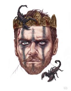 All Hail Macbeth!  by Kitty Rouge  Movie illustration for review of Macbeth starring Michael Fassbender
