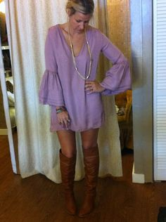 MUMU dress & knee high boots