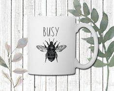Busy Bee Coffee Mug | Perfect gift for Nature Lovers | Inspirational Mug | Perfect gift for Mom | Perfect gift for Teacher Perfect Gift For Dad, Gifts For Dad, Hot Coffee, Coffee Mugs, Gifts For Nature Lovers, Porcelain Mugs, Busy Bee, Cream And Sugar, Teacher Gifts