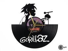Gorillaz clock, Clint Eastwood vinyl record clock     by Revinylit www.revinylit.com