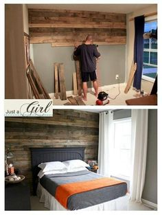 Wood slats on the wall - LOVE this!